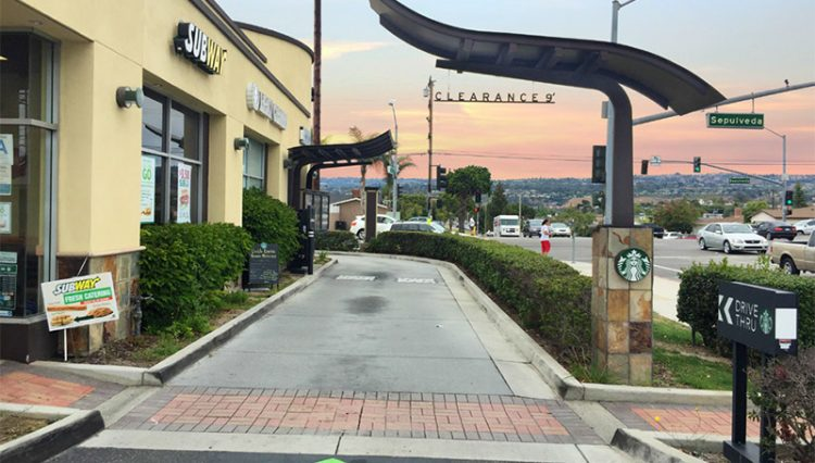 Drive Through and Building Facade View of STARBUCKS DRIVE-THRU CENTER at 4437 Sepulveda Boulevard, Torrance, CA 90505