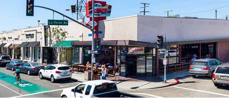 Street and Facade View of Prime Retail Space with 10 Parking Spots Sold at 5251 E Second Street, Long Beach, CA 90803