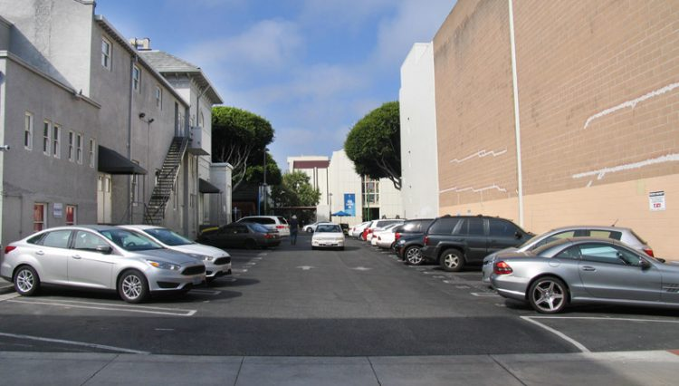 Side of Building and Parking Lot View of Prime Office Space Sold at 312 Wilshire Boulevard, Santa Monica, CA 90401