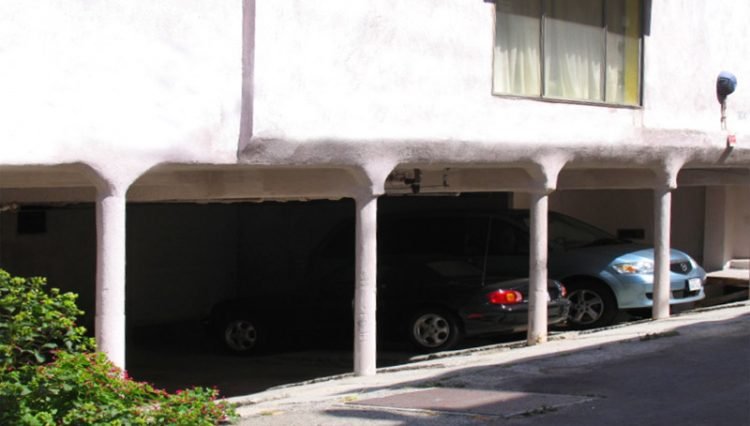 Rear Building and Parking Structure View of 15 Unit Apartment Building at 1114 6th Street, Santa Monica, CA 90403