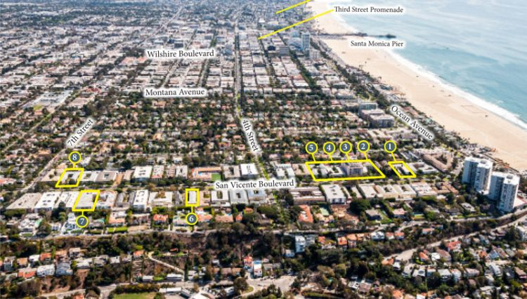 Aerial Mapping Views of Sold Property Portfolio on San Vicente in Santa Monica, CA