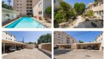 Exterior Street, Pool and Parking Lot Views of Sold Property Portfolio on San Vicente in Santa Monica, CA
