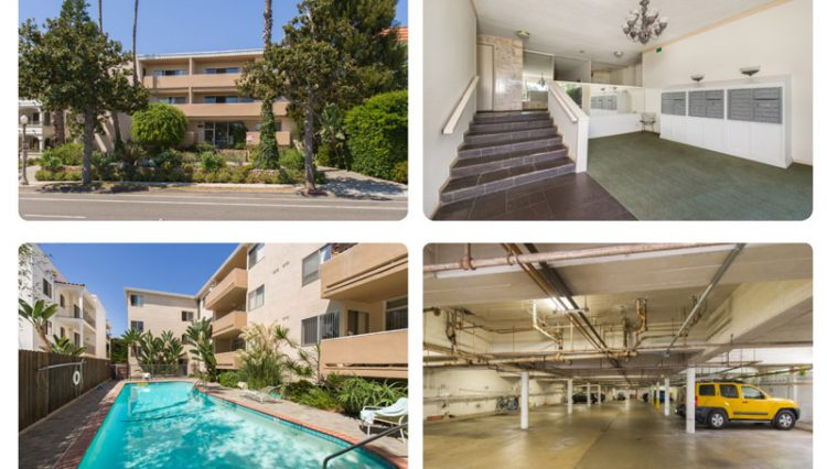 Exterior Street, Pool and Interior Parking Lot Views of Sold Property Portfolio on San Vicente in Santa Monica, CA