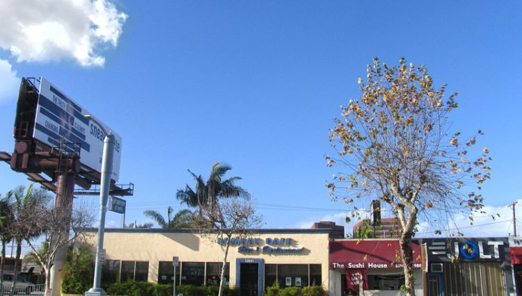 Exterior Street and Facade View of Restaurant with Full Liquor License For Lease at 12021 Pico Boulevard, Los Angeles, CA 90064