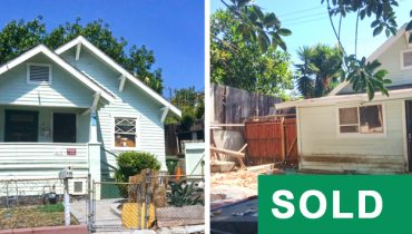Front and Rear View of a Fixer Upper House Sold by PAR Commercial Brokerage at 119 S. Grand Avenue, San Pedro, CA 90731