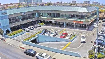 Aerial View of Parking Lot and Building Facade of Retail Spaces for Lease at 13400 Washington Boulevard, Marina Del Rey, CA 90292