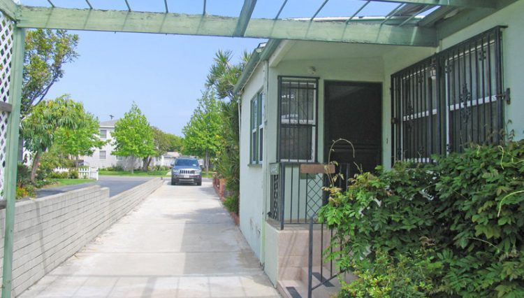 Driveway View of 3 Unit Apartment Building For Sale at 1044 Ocean Park Boulevard, Santa Monica, CA 90405