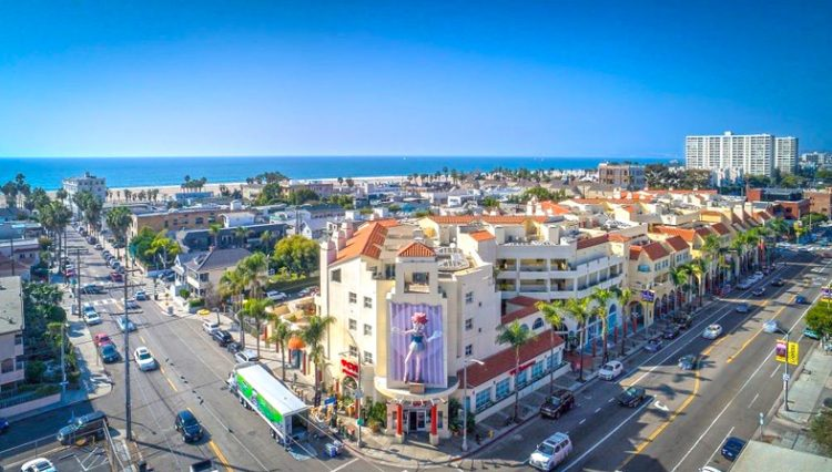 Aerial Street Facad View of Restaurant Space for Lease at 235 Main Street, Venice, CA