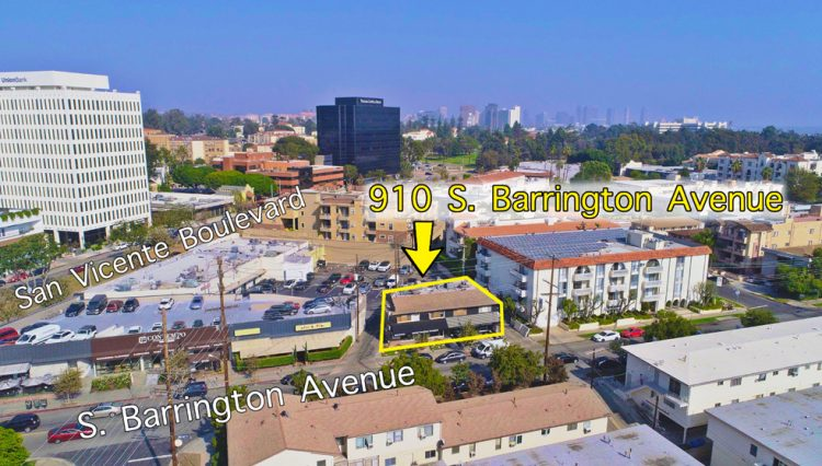 Aerial View of Office Retail Space for Sale at 910 to 916 S. BARRINGTON AVENUE, Los Angeles, CA 90049